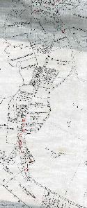 Stratford in 1799 - buildings highlighted in red [MA14]